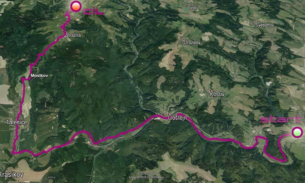 mapa trati pro kolečkové lyže